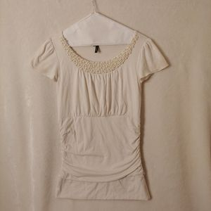 Maurices small white pearl beaded short sleeve top
